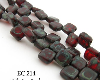 6mm 2 Hole Czech Glass Picasso Dark Red Square Tile Bead (EC 214) 25 pcs BlueEchoBeads