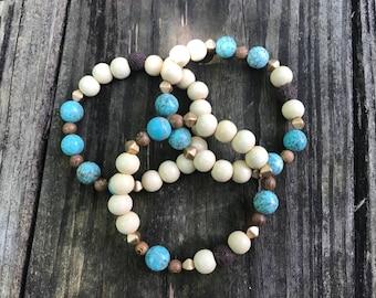Turquoise Beaded Bracelets with Lava Stones