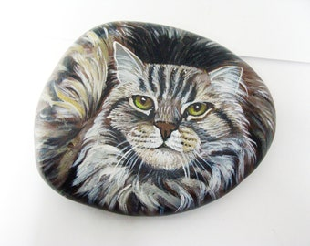 PAINTED ROCKS by Shelli Bowler, Custom of your pet, 6 in. on a semi flat river stone