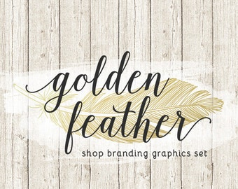 Rustic Feather Shop Branding Banners, Avatar Icons, Business Card, Logo Label + More - 13 Premade Graphics Files - GOLDEN FEATHER