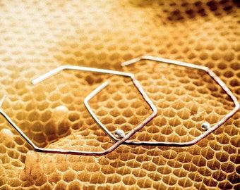 Hexa Hoops- Hexagon Hoop Earrings- Hexagon Hoops- Hexagonal Hoop Earrings in Copper and Sterling Silver
