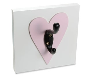Heart Wall Hook, light pink, nursery and kids, room decor for girls