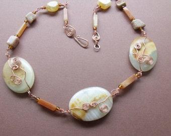 jewelry / necklace / copper / wirewrap / stone necklace