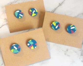 Round Studs - Blue confetti