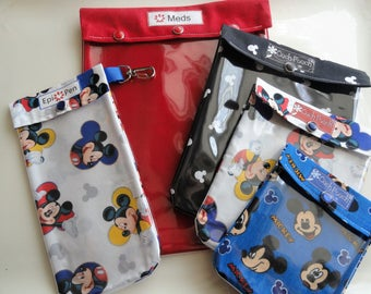 Disney Cruise 5 Pack Clear Front Organizers for EpiPen Medications First Aid Inhaler Cosmetic Travel Diaper Bag Fish Extender Gifts