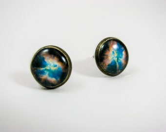 Universe stud earrings, Planet jewelry, Galaxy earrings, Cosmic jewelry, Space jewelry, Nebula earrings, Brass earrings, Antique bronze stud