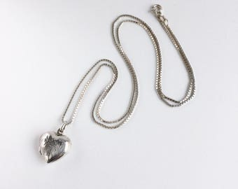 Heirloom Vintage Engraved Sterling Silver Heart Locket