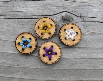 """Four Bamboo Star Buttons (3/4"""", 1"""" and 1 1/4"""")"""