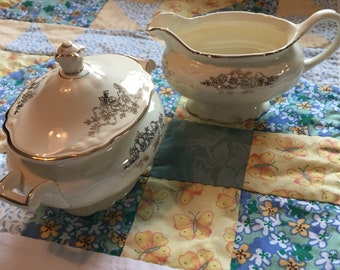 Vintage Shabby Chic Creamer and Sugar Bowl Set Golden Floral Virginia Rose Homer Laughlin Made in The USA