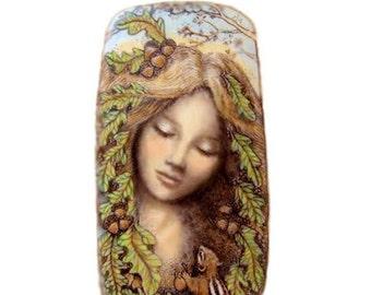 Woodland goddess Mother Nature chipmunk giclee print