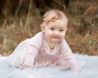 School Girl Bow, baby nylon bow, girl bow, brown leather bow, nylon, baby girl, nylon headband, caramel, school, brown clip, fourjaysbows