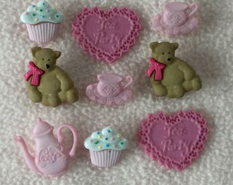 TEA PARTY ~ Dress It Up Buttons ~ Teddies ~ Teapot ~ Teacup ~ Cupcakes ~ Hearts