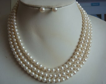 beautiful 3 rows AA 6-7 mm white freshwater pearl necklace earrings  set