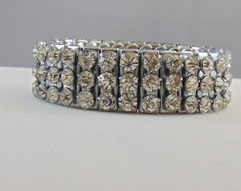 Vintage Signed Japan Three Row Clear Rhinestone Expansion Bracelet