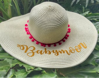 Straw Hat- Floppy Brim Hat- Nothing written Red Pom poms