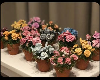 Miniature Clay Potted Flowers (1) - Assorted Colors!