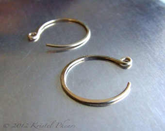 "Small Gold Hoops - reverse hoop earrings 14k gold-filled simple classic minimalist basic lightly hammered 3/4"" (18mm 20mm) yellow rose gift"