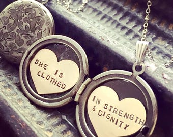 Custom Proverbs Locket Necklace, Personalized necklace, hand stamped inspiration, She is clothed in strength and dignity locket necklace