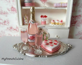 Valentine day - Romantic tray and  pink Champagne