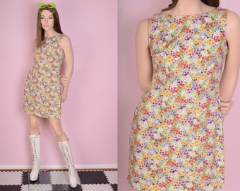 90s Floral Print Dress/ US 6/ 1990s/ Tank/ Sleeveless