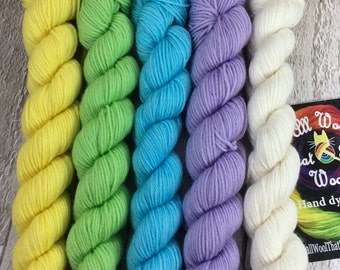 Hand dyed mini skeins semi solid yarn merino/nylon Superwash yarn/wool /Uk dyer/ knit/ crochet/ mini set pastel