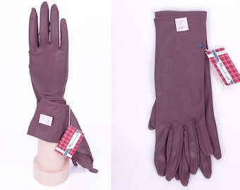 Vtg Brown late 50s  60s Gloves M (Deadstock/Unworn) // Pin-up Party Prom Classy Gloves