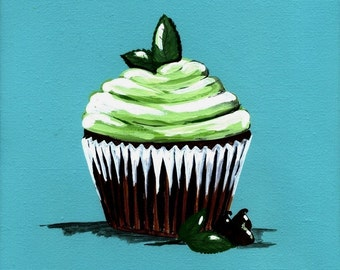 Chocolate Mint Cupcake Painting Print