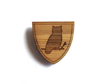 Owl Pin. Bird Pin. Wood Tie Pin. Wood Lapel Pin. Tie Pin. Lapel Pin. Mens Lapel Pin. Boutonniere. For Him. Gifts For Dad. Groomsmen Gift.