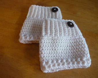 Crochet Boot Cuffs Button Accent Crochet Boot Topper Leg Warmer in Fisherman - Ready to Ship  - Direct Checkout - Gift for Her