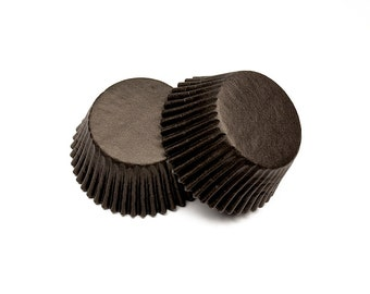 Black Baking Cupcake Liners Cups - 36 Standard Size Liners - Baking Candy Making Craft Packaging Party Supplies