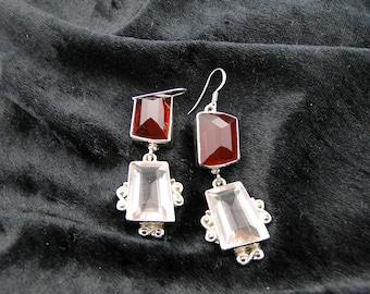 Sterling Silver Garnet and Rose Quartz Earrings