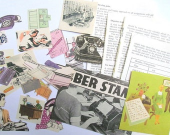 At the Office - vintage paper craft pack: 30 paper ephemera pieces. Kit for scrapbooks, journaling, collage, card making EP896