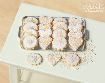 MTO -Iced Butter Cookies on Metal Baking Sheet - Miniature Food in 12th Scale for Dollhouse