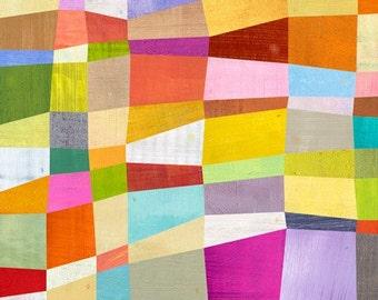 Abstract Blocks, Canvas Art Print , Geometric Illustration
