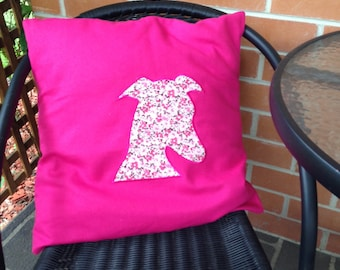 """Hot Pink Whippet Applique Embroidered 20x20"""" Cushion Cover - Stylish - Whippet Lover"""