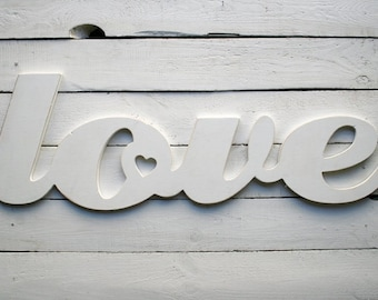 Wooden white love sign, rustic, old