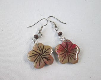Hand Made Coconut earrings -  Caribbean Jewelry -Hand Made in Puerto Rico- Made in the USA