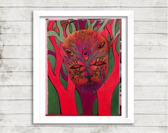 Tree Mask Art, Trippy Mask Art, Psychedelic Art, Mixed Media Art, Print