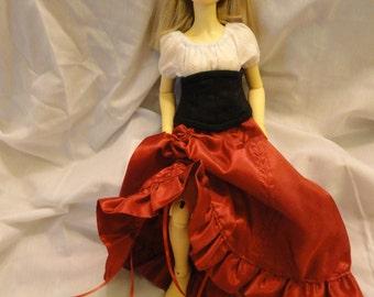 MSD BJD Theatre Skirt Red Taffeta