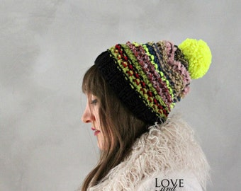 Slouchy Beanie Pom Pom Beanie Colorful Beanie Knitted Hat Knit Beanie Womens Beanie Neon Black Beanie Handmade Beanie Mens Knitted Beanie