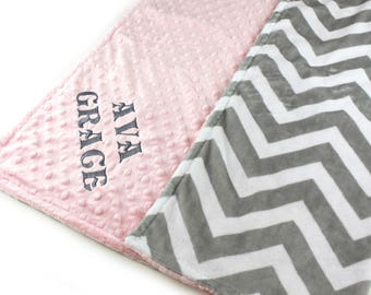 Personalized Baby Blanket, Baby shower gift, Baby Girl Pink Gray Chevron Minky Baby Blanket, Nursery Decor, Custom Baby Blanket, kids minky