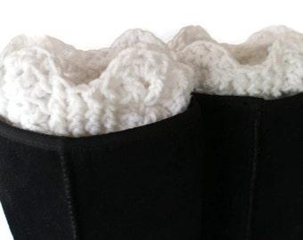 XL Boot Cuffs, Crochet Boot Toppers, Woman Boots, Winter Trend, Womens Boot Socks, White Boot Cuffs, Plus Size Boot Cuffs, XL Boot