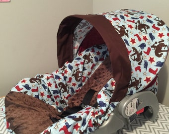 Cowboy giddy up & brown minky dot fabric Infant Car Seat Cover READY to Ship