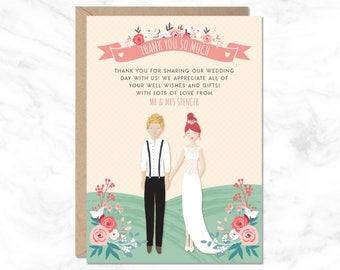 Thank You Wedding Card, Custom Thank You Card, Wedding Reception Card, Wedding Card, Personalised Thank You Card, Printable Thank You