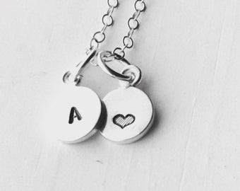 Mini Initial Necklace with Heart, Sterling Silver, Tiny Initial, Hand Stamped Jewelry, Heart Necklace, Letter A Necklace, All Letters Avail