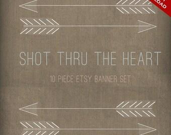 Etsy Banner Set Avatar - DIY Etsy Shop Set - 10 Piece Shot Thru The Heart Arrow Premade Etsy Shop Set - Native American Etsy Shop Banner