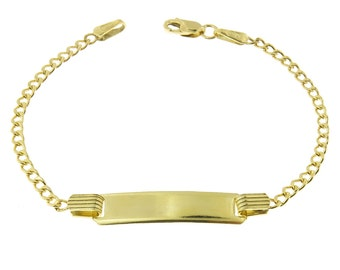 10k Gold Curb Link Childrens ID Bracelets Personalized Name Engraving