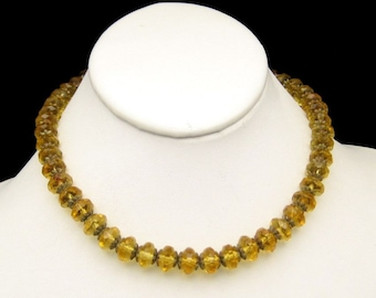 ART DECO CZECH Vintage Necklace Large Crystal Glass Beads Yellow