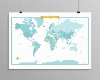 World Map - Aqua - a Scandinavian modern design print // 13x19 // mid century modern map // kids room wall art // kids room decor
