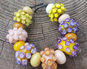 Handmade lampwork glass 7 beads set + 8 spacer beads, Lampwork beads sra, spring beads set, jewelry supplies jewelry making lampwork beads